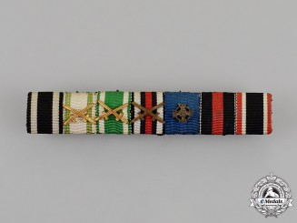 Saxony. A First and Second War Albert & Merit Order Ribbon Bar
