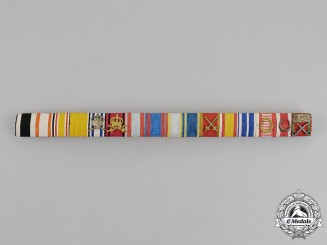 Prussia. An Extensive Red Eagle, Military Merit, & Crown Order Ribbon Bar