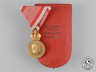 Austria, Imperial. A Military Merit Medal in Bronze, with Case, by Zimbler