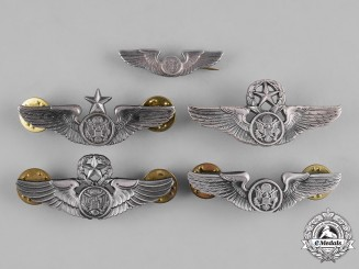 United States. A Lot of Five United States Air Force (USAF) Aircrew Badges