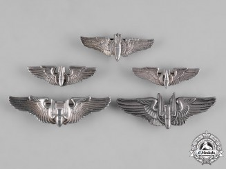 United States. A Lot of Five United States Air Force (USAF) Bombardier Badges