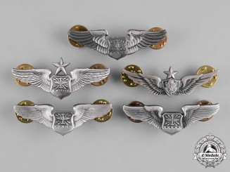United States. A Lot of Five United States Air Force (USAF) Badges, Reduced Size