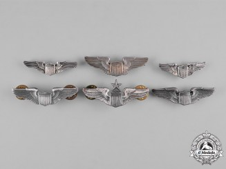 United States. A Lot of Six United States Air Force (USAF) Pilot Badges, Reduced Size