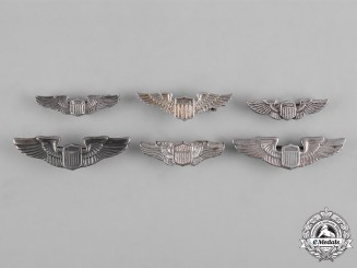 United States. A Lot of Six United States Air Force (USAF) Pilot Collar Badges