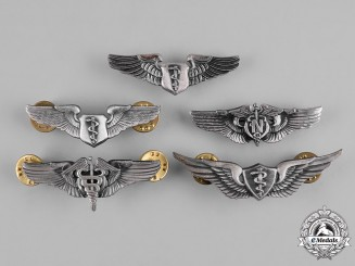 United States. A Lot of Five United States Air Force (USAF) Medical Badges, Reduced Size