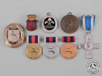Germany. A Lot of Firefighter Medals, Badges, and Awards