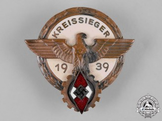 Germany, HJ. A 1939 HJ Regional Trade Competition Victor's Badge, by Hermann Aurich