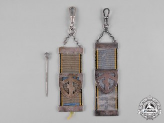 Germany, SS. A Pair Possibly Unique SS Unit Watch Fobs with Stick Pin