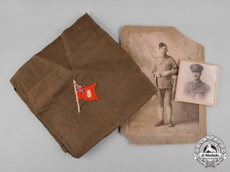 Canada. Two Studio Photographs & Handkerchief to Boer War, D Squadron 2nd Regiment CMR