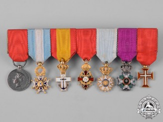 Spain, Kingdom. A Superb Miniature Medal Bar with Seven Decorations, c.1910