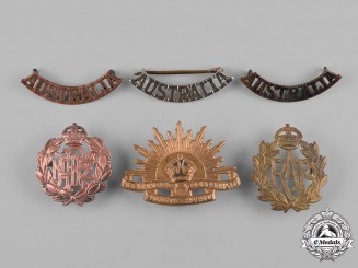 Australia, New Zealand, United Kingdom. A Lot of Six Cap Badges and Shoulder Titles