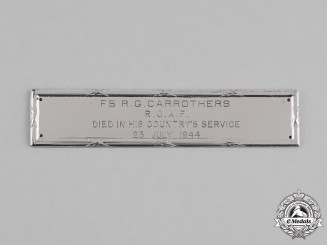 Canada. A Birks Memorial Bar to A/G Carrothers, RCAF, 620 (RAF) Squadron, KIA