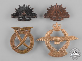 Australia, Sri Lanka, United Kingdom. A Lot of Four Cap Badges