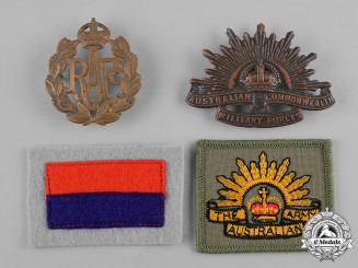 Australia, United Kingdom. A Lot of Four Cap Badges and Patches