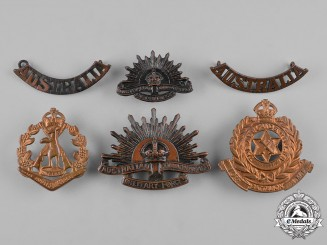 Australia. A Lot of Six Cap Badges and Shoulder Titles