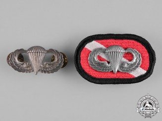 United States. Two Parachutist Badges