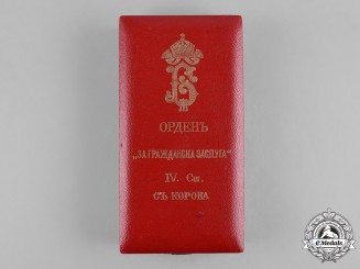 Bulgaria, Kingdom. A National Order for Civil Merit, IV Class Officer with Imperial Crown (1908-1944) Case