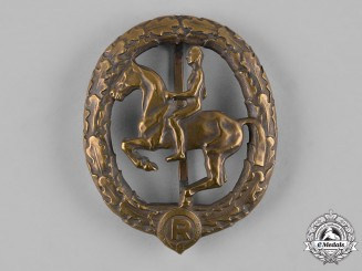 Germany, Third Reich. A Gold Grade Equestrian Badge by L. Christian Lauer