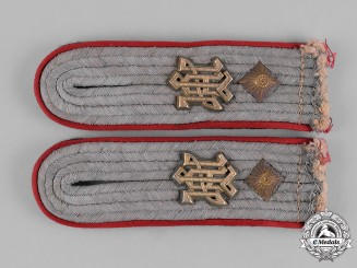 Germany, Waffen-SS. A Pair of Shoulder Straps for a Artillery SS-Obersturmführer in the 1st SS Panzer Division LAH