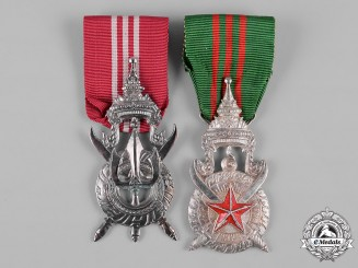 Laos, Kingdom. A Medal of Civilian Merit and Police Service Medal