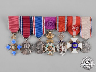 United Kingdom. An Order of the British Empire & Serbian White Eagle Miniature Group