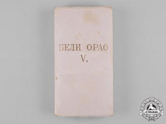 Serbia, Kingdom. An Order of the White Eagle, V Class Case, by Huguenin Frères & Co.