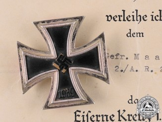 Germany, Heer. A 1939 Iron Cross I Class with Document, 240th Artillery Regiment