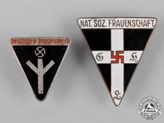 Germany, Third Reich. A Pair of National Socialist Women's League Membership Badges