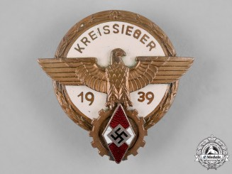 Germany, HJ. A 1939 Regional Trade Competition Victor's Badge by A.G. Tham