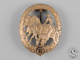 Germany, Third Reich. A Horse Driver's Badge, Gold Grade, by Steinhauer & Lück
