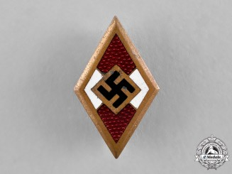 Germany, HJ. A Golden Membership Badge by Wilhelm Deumer