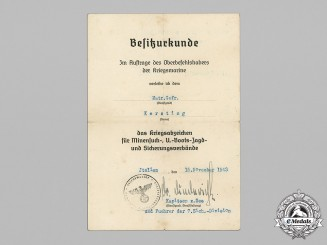 Germany, Kriegsmarine. An Award Document for a Minesweeper War Badge to Matrosengefreiter Kersting