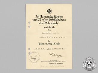 Germany, Kriegsmarine. An Iron Cross I Class Award Document, Athens, Greece 1943