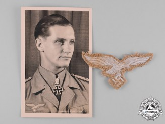 Germany, Luftwaffe. A Tropical Breast Eagle and Postcard of Hans-Joachim Marseille
