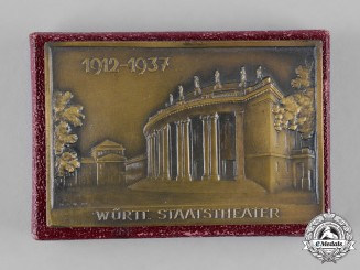 Germany, Third Reich. A 1937 Württemberg State Theatre Plaque with Case