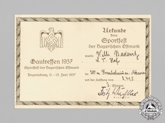Germany, Wehrmacht. A Gau Sports Award Document, 3rd Place Swimming, Bavaria 1937