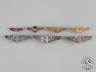 United States. A Lot of Seven Second War Army Air Force Collar Badges