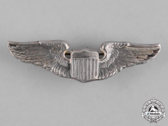 United States. A Second War Army Air Force Pilot Badge, Reduced Size