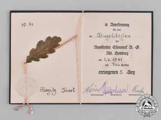 Germany, Wehrmacht. A 1941 Fifth Place Shot Put Award Document