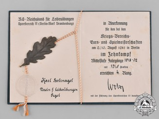 Germany, Wehrmacht. A Sports Award Document for 4th Place in Decathlon, 1941