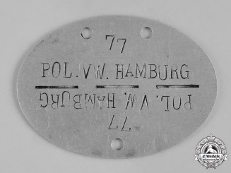 Germany, Ordnungspolizei. A Hamburg Ordnungspolizei (Order Police) Identification Tag