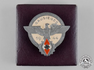 Germany, HJ. A Cased 1944 National Trade Competition Victor's Badge by Gustav Brehmer