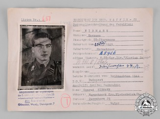Germany, SS. A HIAG Tracing Service File for SS-Sturmmann Hermann Niemann