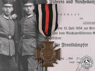 Germany, Imperial. An Honour Cross of the World War 1914/1918 to Otto Schmidt