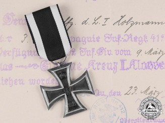 Germany, Imperial. A 1914 Iron Cross II Class with Award Document to Unteroffizier Holzmann