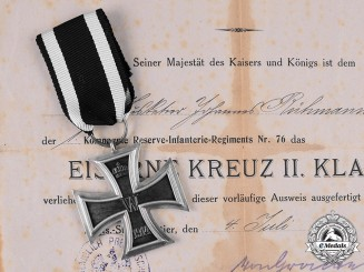 Germany, Imperial. A 1914 Iron Cross II Class with Award Document, 1 Kompagnie Reserve-Infanterie-Regiment Nr. 76