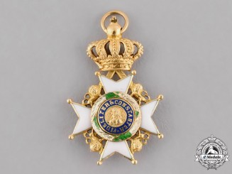 Saxe-Coburg and Gotha, Duchy. A Miniature Ernestine House Order in Gold, Commander's Cross, c.1900