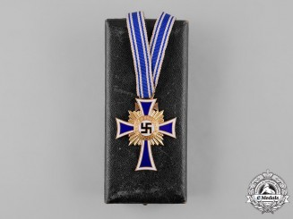 Germany, Third Reich. A Cased Honour Cross of the German Mother, Gold Grade, by Gustav Miksch