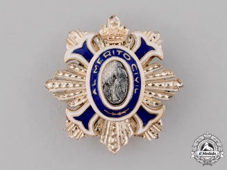 Spain, Kingdom. An Order of Civil Merit Miniature Boutonniere