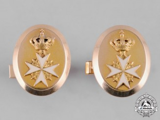 International. An Order of Merit of Saint John, Custom-Made Cufflinks Pair in Gold